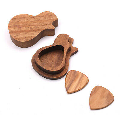 $ CDN16.82 • Buy Delicate Wooden Guitar Pick Set Plectrum Storage Holder Case Box With 2pcs U9J9