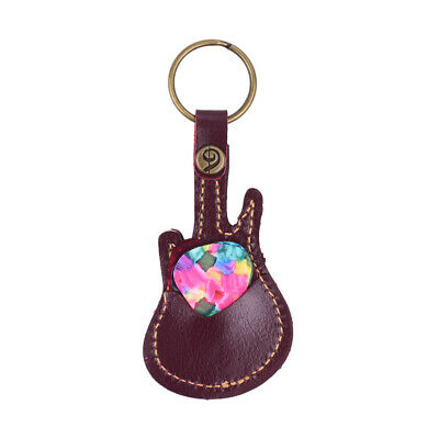 $ CDN9.52 • Buy Leather Guitar Picks Holder Case Bag Guitar Shape With Key  5pcs U6Y8