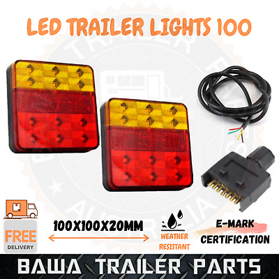 AU41.95 • Buy Led Trailer Tail Lights Bolt On Truck Boat 7 Pin Flat Plug Adaptor 5 Core Cable