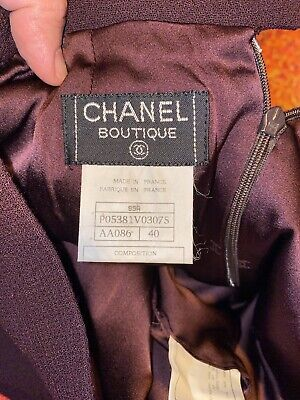 £135 • Buy Chanel Boutique Wool Ladies Plum Skirt Size 12