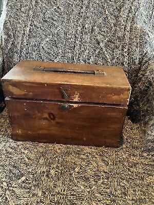 £34.99 • Buy Antique Vintage  Wooden  Box  With Glass Jars With Lid