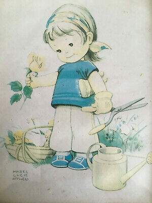 £2.99 • Buy Vintage Mabel Lucie Atwell Print Of Child Gardening In Plastic Frame C 1950