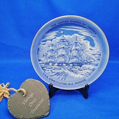£9.91 • Buy USS Constitution OLD IRONSIDE * Blue & White Collectors DISPLAY PLATE (20.5cm)