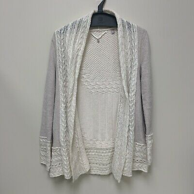 $ CDN36.29 • Buy ANTHROPOLOGIE Knitted & Knotted Cable Knit Fleece Sweater Cardigan Womens XS