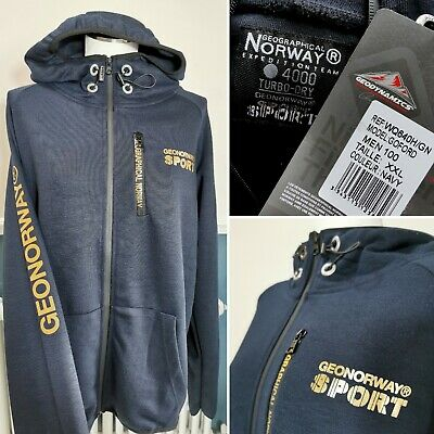 $ CDN68.17 • Buy Geographical Norway Sport Mens Hoodie  Size XXL Navy Blue - NEW Goford Zip Up