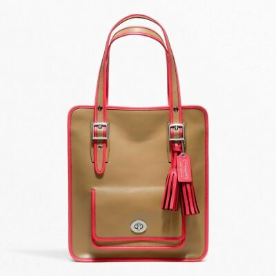 £178.44 • Buy NWT COACH Legacy Leather Tan/Pink Laptop Magazine Tote Shoulder Bag NEW $458