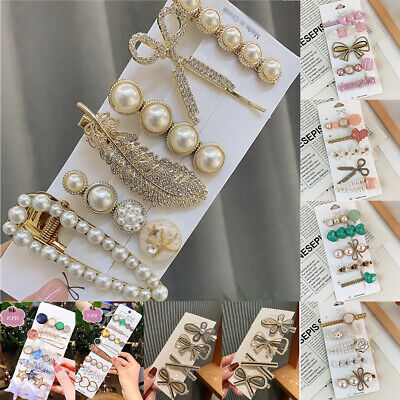 £3.29 • Buy 6Pcs/Set Rhinestone Hair Clips Leaves Feather Big Pearl Hairpins Barrette Clips