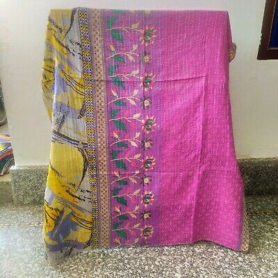 £21.81 • Buy Indian Handmade Twin Cotton Kantha Floral Quilt Throw Blanket Bedspread Vintage