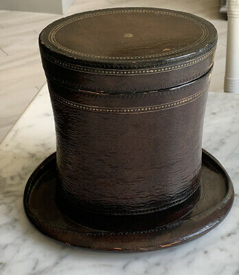 $395 • Buy Unique & Fabulous Maitland Smith (?) Leather Covered Wooden Top Hat Box