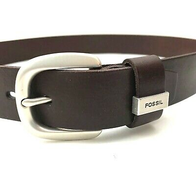 $23.97 • Buy New FOSSIL Smooth Belt Mens M Genuine Leather Silver C Buckle BROWN NWT