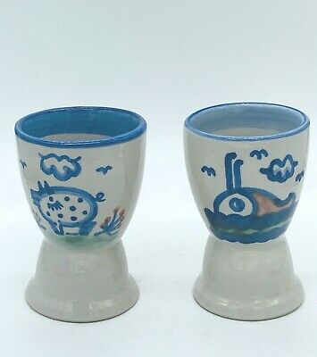 $25 • Buy Pair M. A. Hadley Pottery Goblet WHALE And PIG 4 1/4  Tall