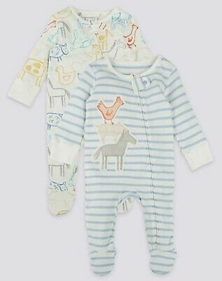 £8.99 • Buy Baby M*S Girls Boys Sleepsuits 2 Pack Pure Cotton Farm  Animals Zipped Babygrows