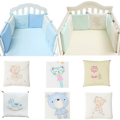 £16.13 • Buy Cotton Protector Crib Pads UK 6Pcs Bumper Baby Bed Cot Safety Set NEW
