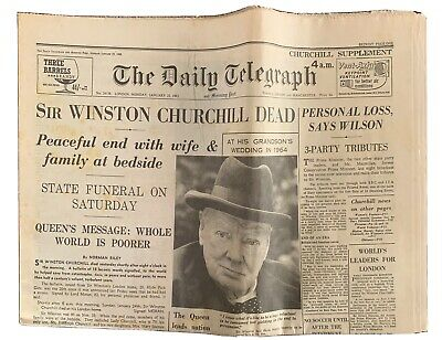 £12 • Buy Winston Churchill Death Daily Telegraph 1965 & Tribute Supplements