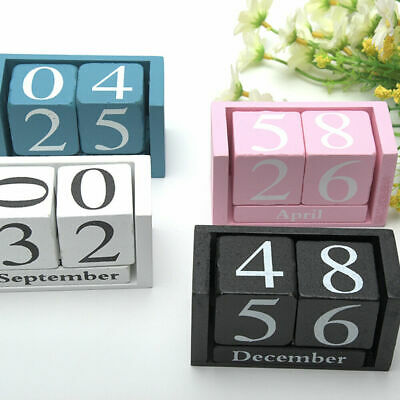 £5.41 • Buy Wooden Perpetual Calendar Rotating Blocks Date Month Day Desk Office Home Decor
