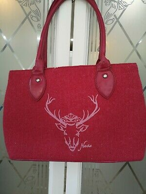 £13.50 • Buy Ness Bag  Woven Wool Tweed Checked Trim, Stag On The Front VGC Style Is 'Albert'