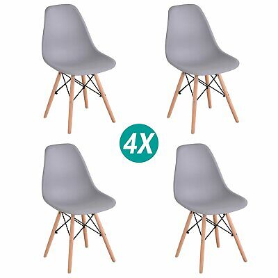 £49.99 • Buy Set Of 4 Dining Eiffel Chairs Retro Wooden Legs Office Kitchen Lounge Chair Grey