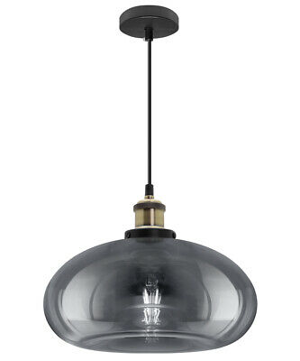 £29.99 • Buy Vintage Smoked Glass Shade Chandelier Pendant Ceiling Home Pub Diner Light M0198