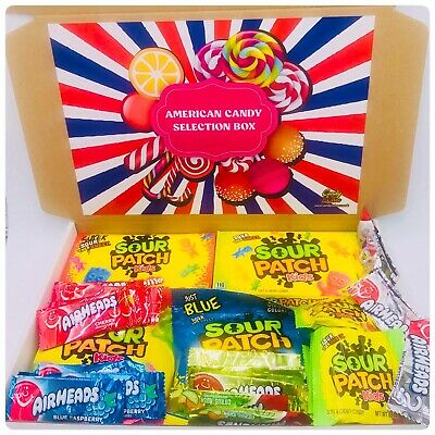£9.99 • Buy Sour Patch Kids American Candy Air Heads Hamper Gift Box Present Nerds Sweets