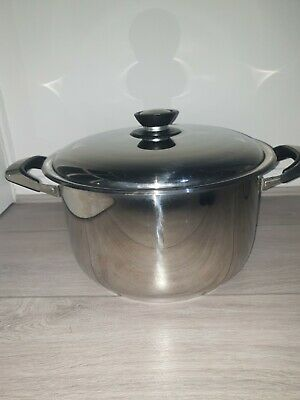 £25.99 • Buy LARGE Silver Cooking Pot / Pan + Lid. Stew, Stock, Casserole, Camping, Catering