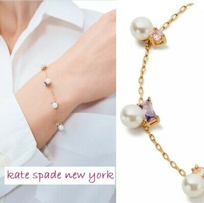 £27.63 • Buy NWT KATE SPADE Little Gem Glass Pearl & Mixed-Stone Station Chain Bracelet