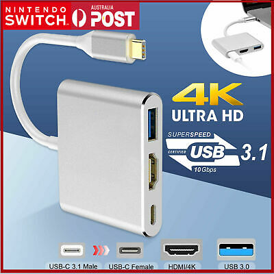 AU15.99 • Buy Type C To USB-C HDMI USB 3.0 Converter Adapter Cable 3 In 1 Hub For MacBook Pro