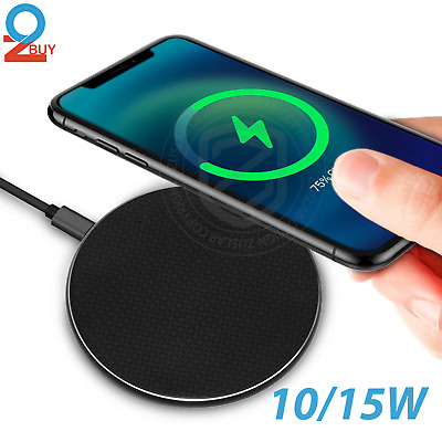 AU8.95 • Buy 10W/15W Qi Wireless FAST Charger Charging Pad For Apple/Samsung /Android Phones