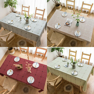 £7.71 • Buy Rectangle Dining Kitchen Table Cloth Dust Cover UK Plaid Cotton Linen Tablecloth