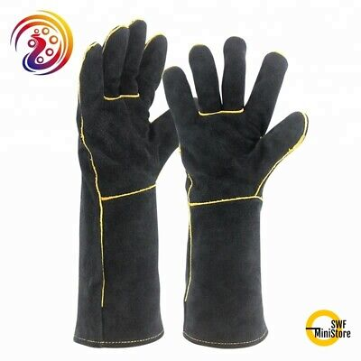 £9.62 • Buy 15 Inch Welding Gloves Heat Resistant Lined Leather Stick MIG TIG BBQ One Size