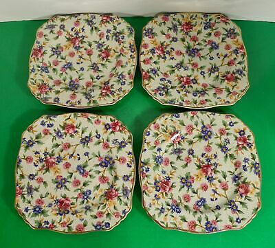 $ CDN60.36 • Buy Royal Winton Grimwades OLD COTTAGE Square Bread Plate (s) LOT OF 4 Chintz Floral