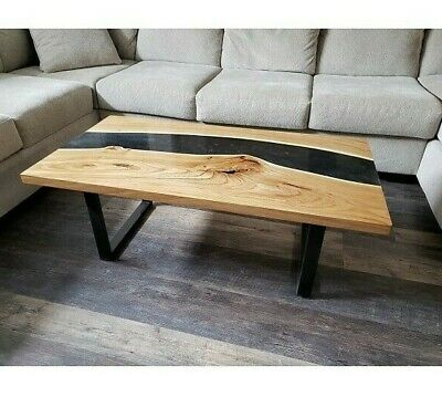 £767.28 • Buy Live Edge Coffe Table With Epoxy River - Wood Natural Pine Wooden Handmade Resin