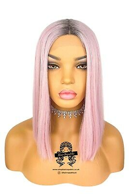 £39.99 • Buy Lace Front Synthetic Pink Blunt Cut Wig Lace Part Pink Wig Short Pink Wig