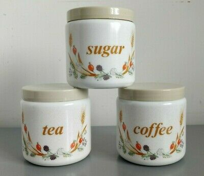 $30.94 • Buy Vintage CLP Milk Glass Tea Coffee Sugar Canisters Jars Kitchen Made In Italy