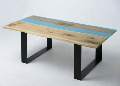 £947.82 • Buy Coffe Table With Blue Epoxy River - Live Edge Oak Wood Natural Wooden Handmade