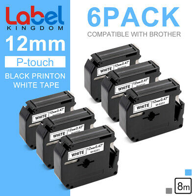 $12.37 • Buy 6 PK M-K231 MK-231 Label Tape Compatible With Brother P-touch Label Maker 12mm