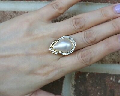 $427.55 • Buy 14K Yellow Gold Tear Drop Mabe Pearl & Diamond Pave Ring, Size 9