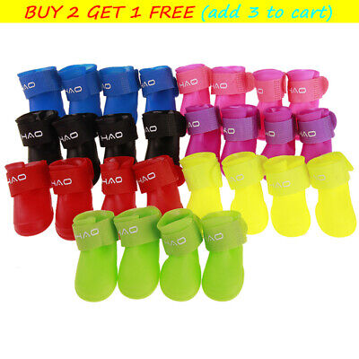 £4.89 • Buy 2 Pairs Dog Snow Boots Protective Rain Shoes Pets PVC Waterproof Wellies Booties