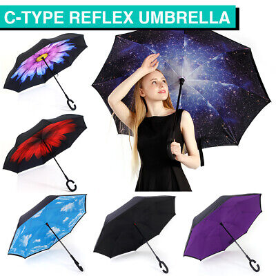 AU20.29 • Buy Windproof Upside Down Reverse Umbrella Double Layer Inside-Out Inverted C-Handle