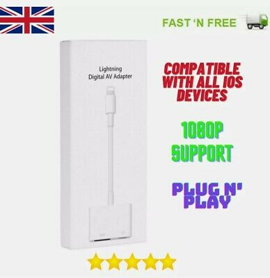 £6.95 • Buy Lighteing To HDMI Digital TV AV Adapter Cable Applie IPhone IPad 5 6 7 8 Plus X
