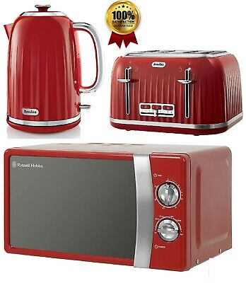 £179.99 • Buy Breville Set 4 Slice Toaster & Electric Jug Kettle With Solo Microwave - RED
