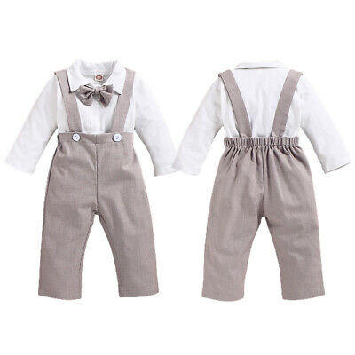 £13.49 • Buy Infant Baby Boys Gentleman Bow Tie Shirt Top + Overalls Pants Party Suit Outfits