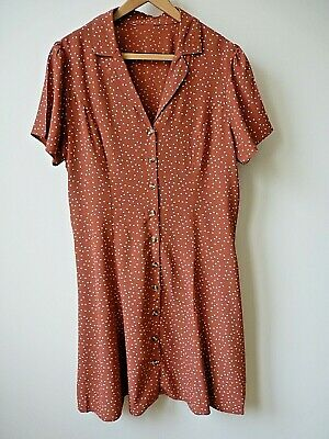 £6 • Buy New Womens Tan+White Spotty Print Button Up Front Collared Short Dress Size 8-14