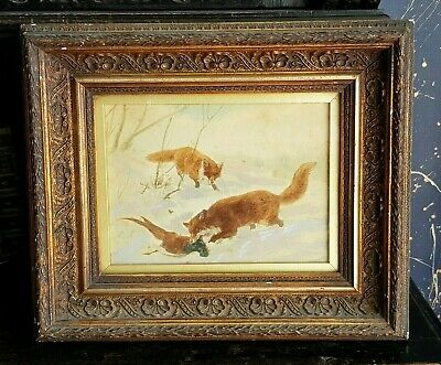 £110 • Buy Antique-Victorian-Superb Oil On Board In Ornate Gesso Frame-Foxes Hunting-c1880s