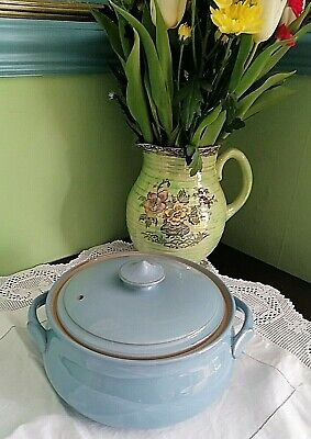 £24.99 • Buy DENBY / LANGLEY POTTERY CASSEROLE / TUREEN COLONIAL BLUE STONEWARE 25 Cm WIDEST