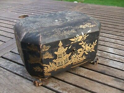 £295 • Buy ANTIQUE MID 19C CHINESE LACQUER TEA CADDY For Resto