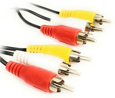 £2.59 • Buy Triple 3 X Phono Cable Audio Composite Video Nickel RCA Lead RED WHITE YELLOW