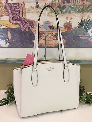 $ CDN194.88 • Buy Kate Spade Monet Large Compartment Tote Shoulder Bag Purse White Cream Leather