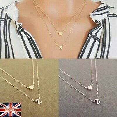 £3.19 • Buy Gold Silver Multi Layer Love Heart Initial 26 Letters Chain  Necklace UK