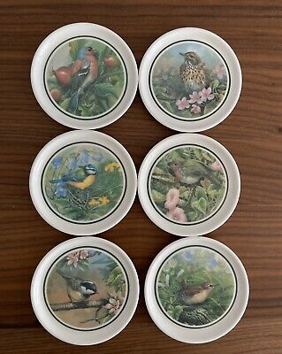Set of 6 Coasters with Blue Bird /& Flowers Blue Bird Coasters Flower Pot Coasters Vintage Blue Bird Coasters Vintage Flower Coasters