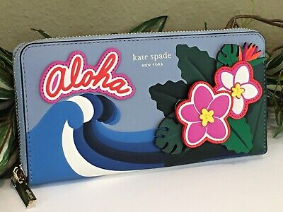 $ CDN121.44 • Buy Kate Spade Hawaii Scenic Route Zip Continental Leather Wallet Clutch Wave Floral